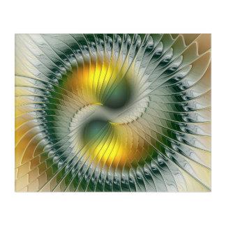 Yin Yang Green Yellow Abstract Colorful Fractal Acrylic Print