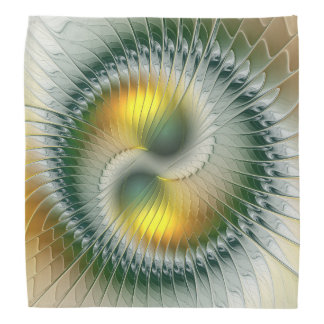 Yin Yang Green Yellow Abstract Colorful Fractal Bandana