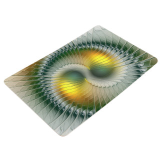 Yin Yang Green Yellow Abstract Colorful Fractal Floor Mat
