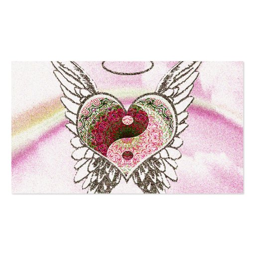 Yin Yang Heart Angel Wings Watercolor Business Card Template