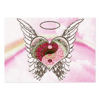 Yin Yang Heart Angel Wings Watercolor Business Card