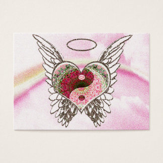 Yin Yang Heart Angel Wings Watercolor Business Card