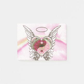Yin Yang Heart Angel Wings Watercolor Post-it Notes