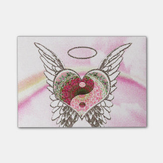 Yin Yang Heart Angel Wings Watercolor Post-it® Notes