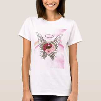 Yin Yang Heart Angel Wings Watercolor T-Shirt