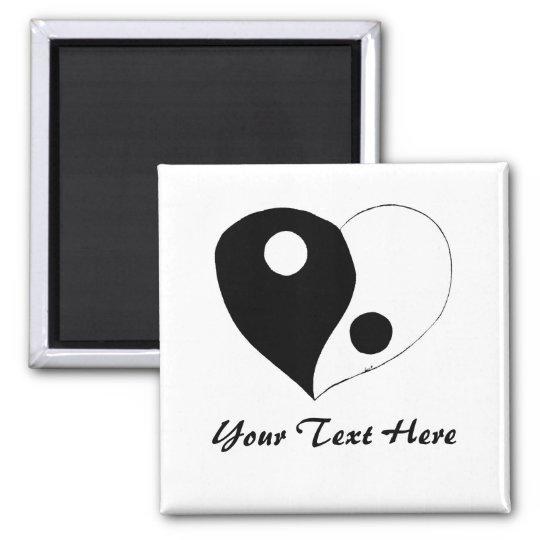 Yin Yang Heart (B/W) Magnet