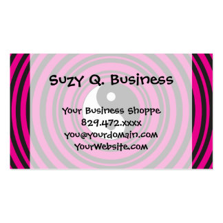 Yin Yang Hot Pink Black Concentric Circles Pack Of Standard Business Cards