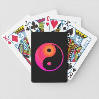 Yin Yang Hot Pink, Purple, and Orange Illustration Bicycle Playing Cards
