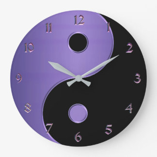 Yin Yang in Lavender Purple and Black Large Clock