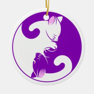 Yin Yang Kitty Ceramic Ornament