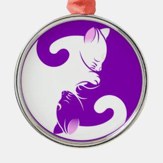 Yin Yang Kitty Metal Ornament