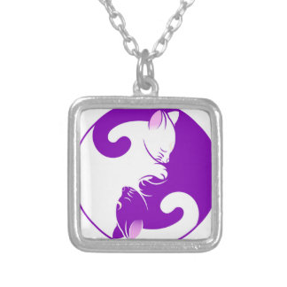 Yin Yang Kitty Silver Plated Necklace