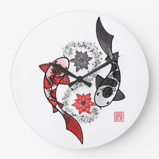 Yin Yang Koi Fish Large Clock