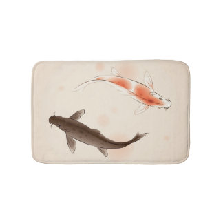 Yin Yang Koi fishes in oriental style painting Bath Mat