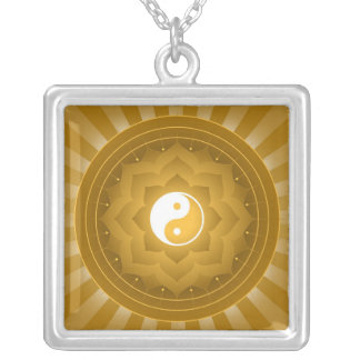 Yin Yang Lotus Design Silver Plated Necklace