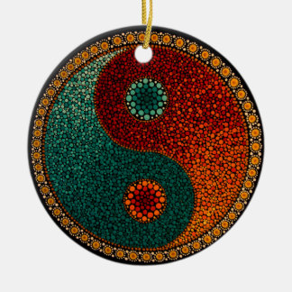 Yin Yang Mandala Ceramic Ornament