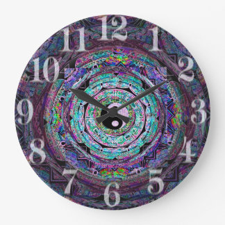 Yin Yang Mandala in Purple Colors Large Clock
