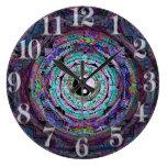 Yin Yang Mandala in Purple Colours Wall Clock
