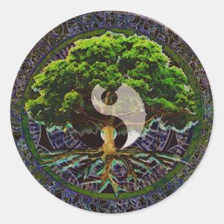 Yin Yang Mandala Tree of Life Round Sticker