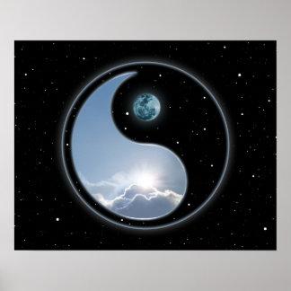 Yin Yang Moon Sun Poster