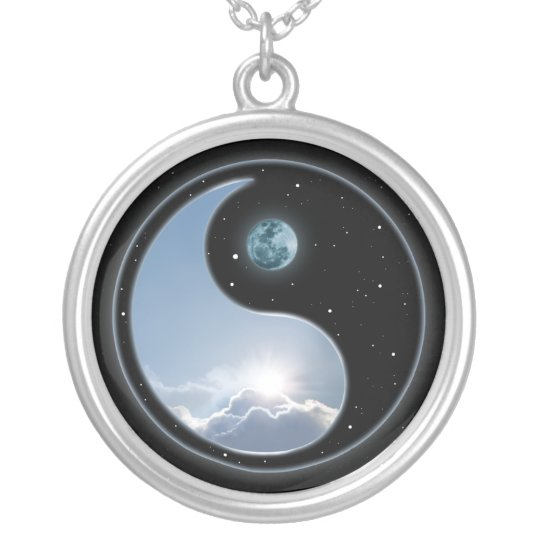 Yin Yang Moon Sun Silver Plated Necklace Zazzlecomau
