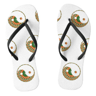 Yin-yang motif in bright nautilus swirl thongs