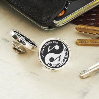 Yin yang music lapel pin