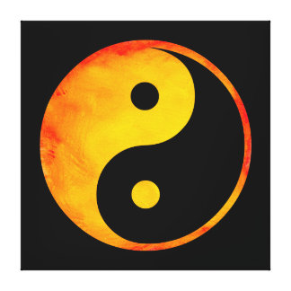 Yin Yang Orange and Yellow Watercolor on Black Canvas Print