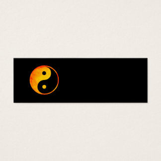 Yin Yang Orange and Yellow Watercolor on Black Mini Business Card