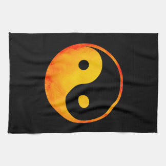Yin Yang Orange and Yellow Watercolor on Black Tea Towel