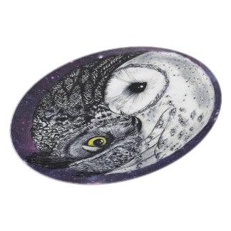 Yin Yang Owls Plate