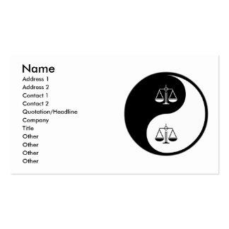 Yin Yang Paralegal Work Business Card Templates
