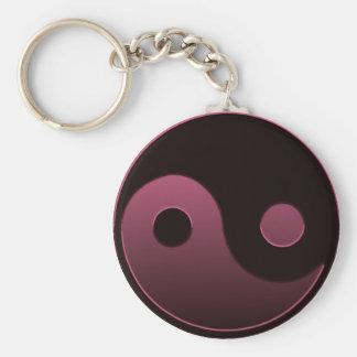 Yin Yang Pink Basic Round Button Key Ring