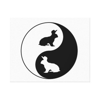 Yin Yang Rabbits Canvas Print
