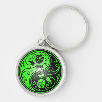 Yin Yang Roses, green and black Silver-Colored Round Key Ring