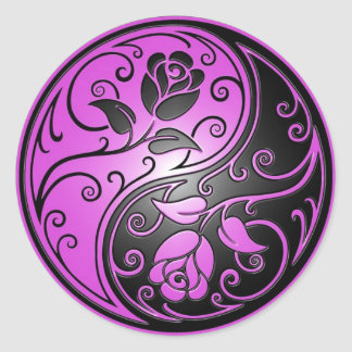 Yin Yang Roses, purple and black Round Sticker