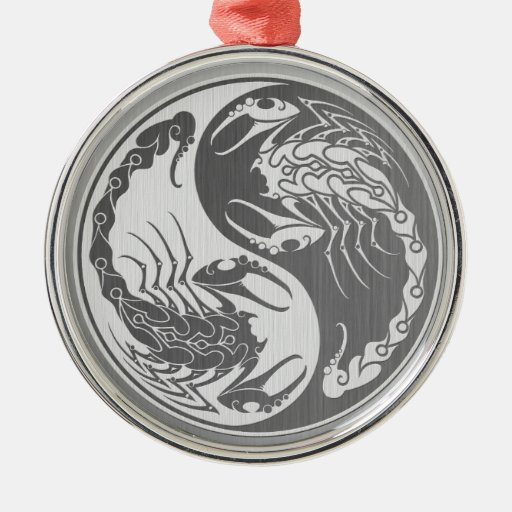 Yin Yang Scorpions with Stainless Steel Effect Christmas Ornament