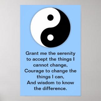Yin Yang Serenity Prayer Poster