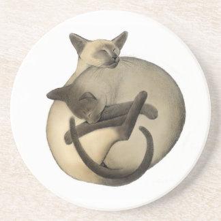 Yin Yang Siamese Cats Coaster
