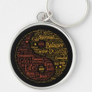 Yin Yang Spiritual Word Art Silver-Colored Round Key Ring