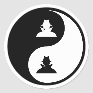Yin Yang Spying Classic Round Sticker