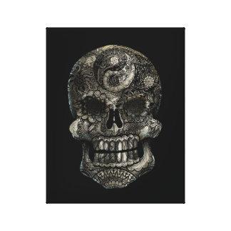 Yin-Yang Sugar Skull 11 x 14 Canvas Print