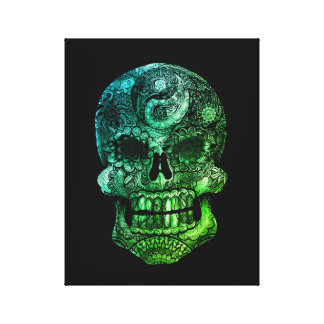 Yin-Yang Sugar Skull Greenleaf - 11 x 14 Canvas Print