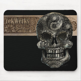 Yin Yang Sugar Skull With An Angry Elephant Mouse Pad