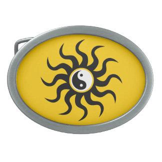 Yin-Yang Sun-Black/White Belt Buckle