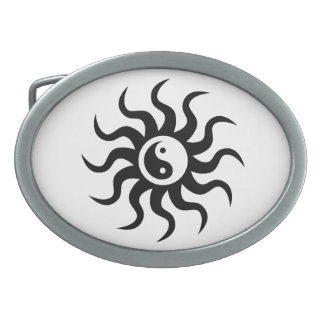 Yin-Yang Sun-Black/White Oval Belt Buckles