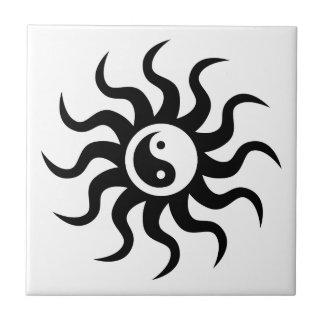 Yin-Yang Sun-Black/White Small Square Tile