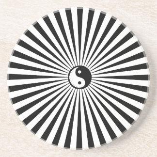 Yin-Yang Sun Wheel-Black/White Coaster