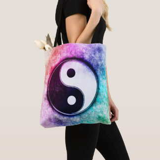 Yin Yang - Sunset Over The Green Forest Tote Bag