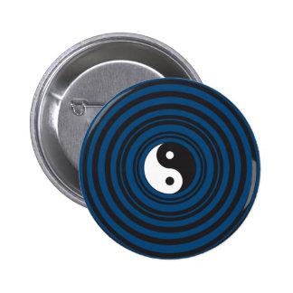 Yin Yang Symbol Blue Concentric Circles Ripples Pins